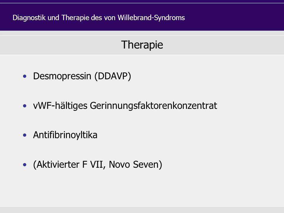 Diagnostik und Therapie des von Willebrand-Syndroms