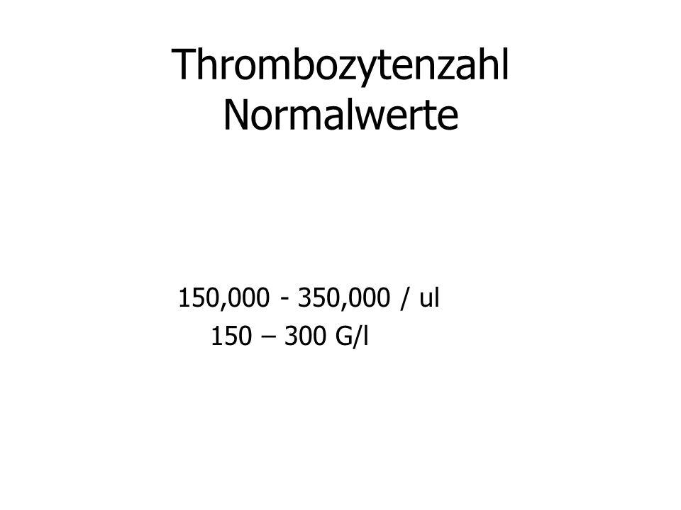 Thrombozytenzahl Normalwerte