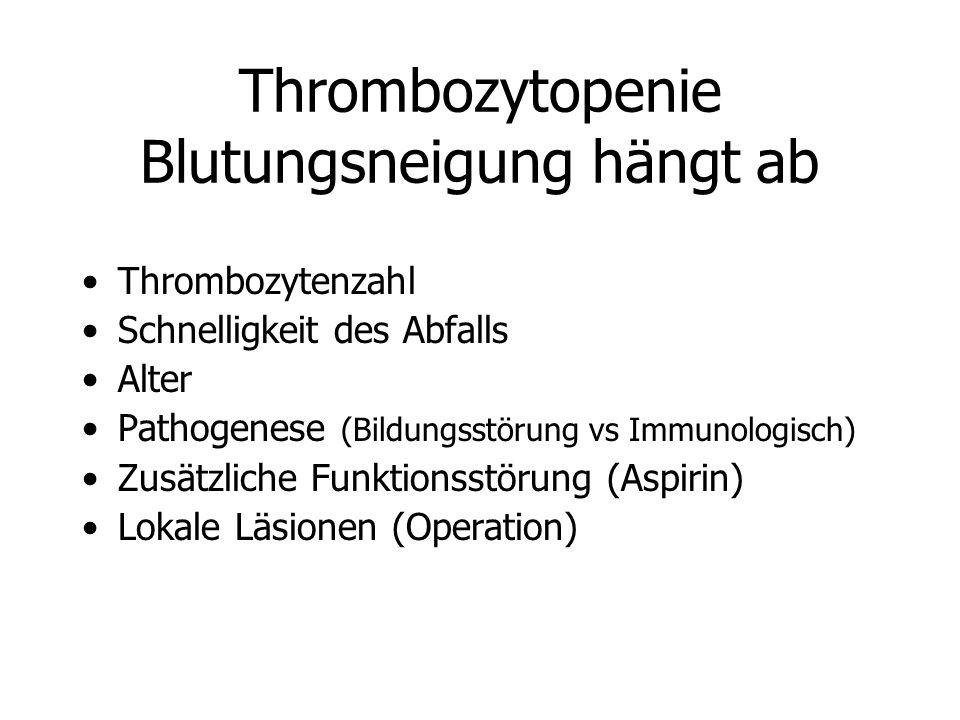 Thrombozytopenie Blutungsneigung hängt ab