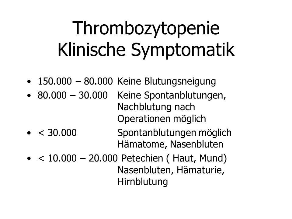 Thrombozytopenie Klinische Symptomatik