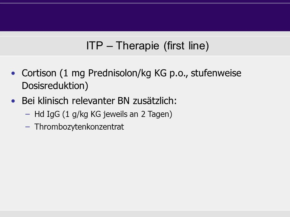 ITP – Therapie (first line)