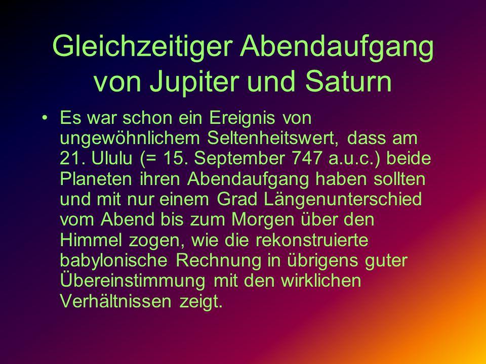 Gleichzeitiger Abendaufgang von Jupiter und Saturn