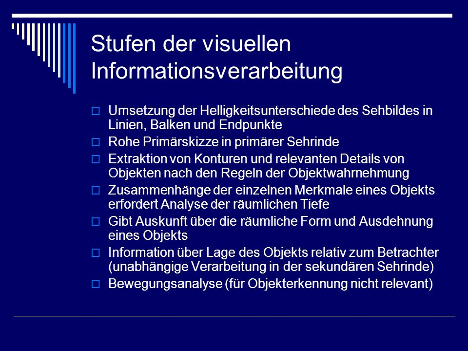 Stufen der visuellen Informationsverarbeitung