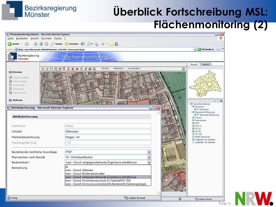 Überblick Fortschreibung MSL: Flächenmonitoring (2)