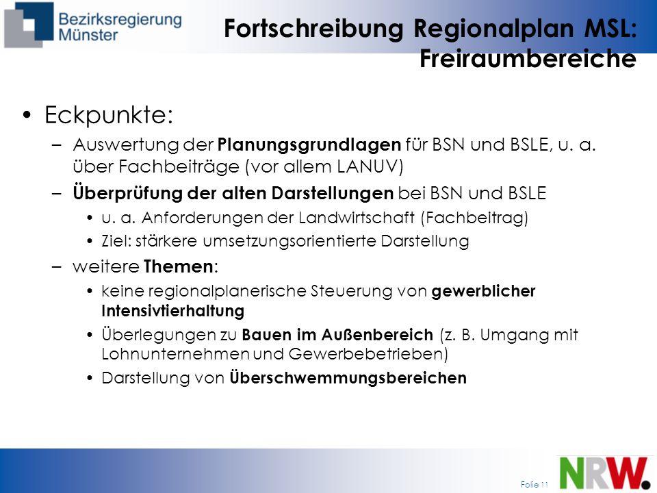 Fortschreibung Regionalplan MSL: Freiraumbereiche