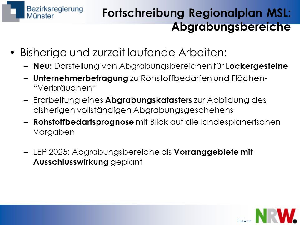 Fortschreibung Regionalplan MSL: Abgrabungsbereiche