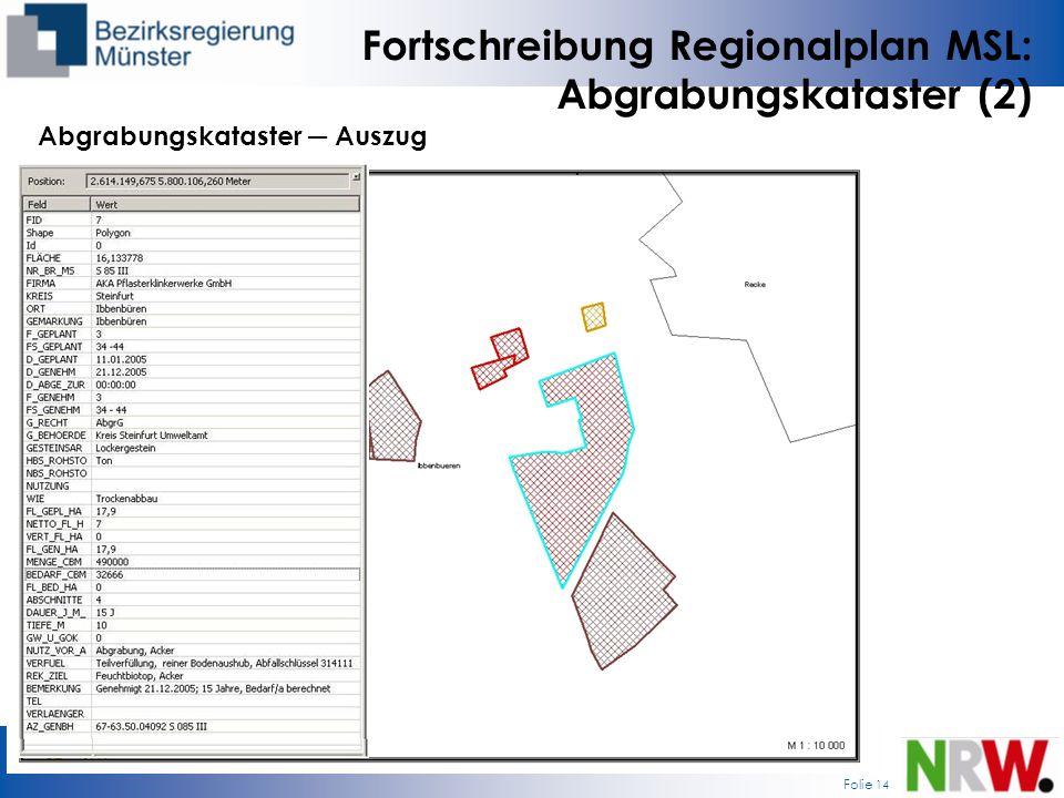 Fortschreibung Regionalplan MSL: Abgrabungskataster (2)