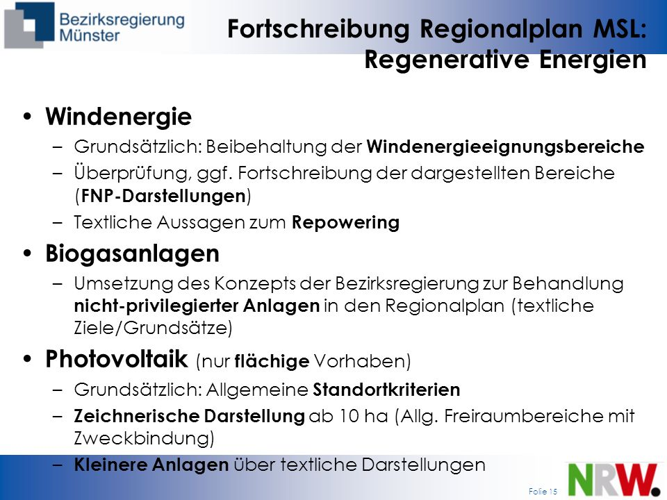 Fortschreibung Regionalplan MSL: Regenerative Energien