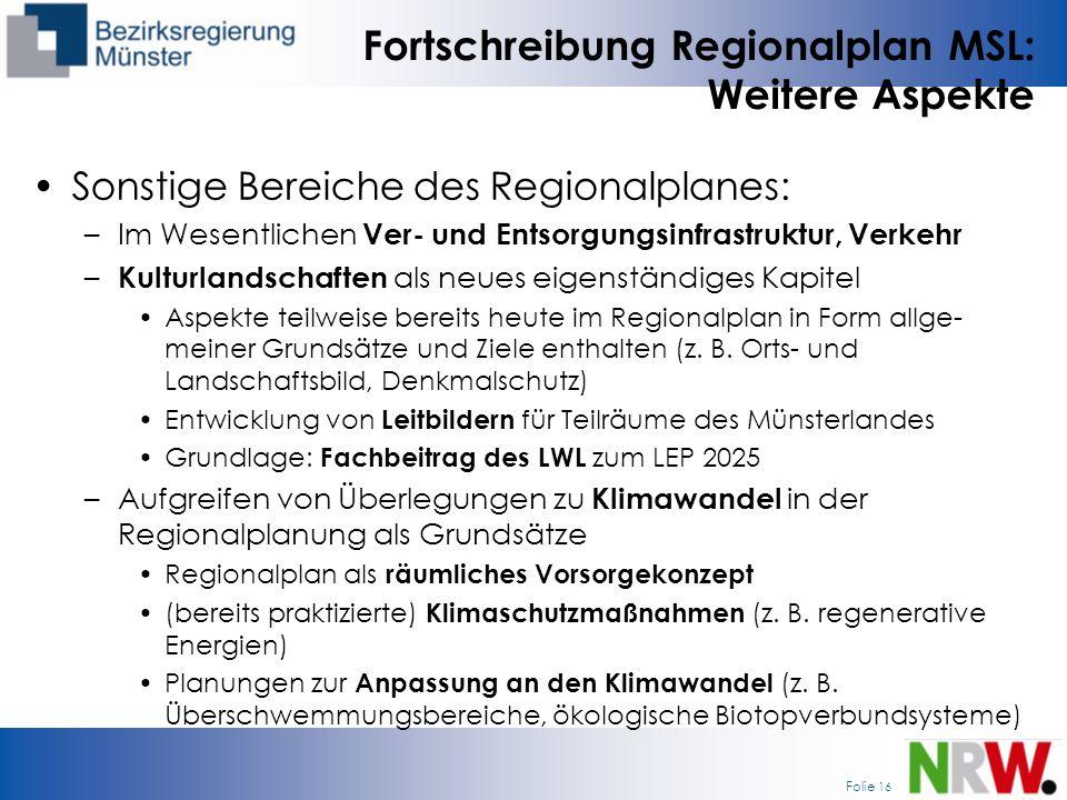 Fortschreibung Regionalplan MSL: Weitere Aspekte