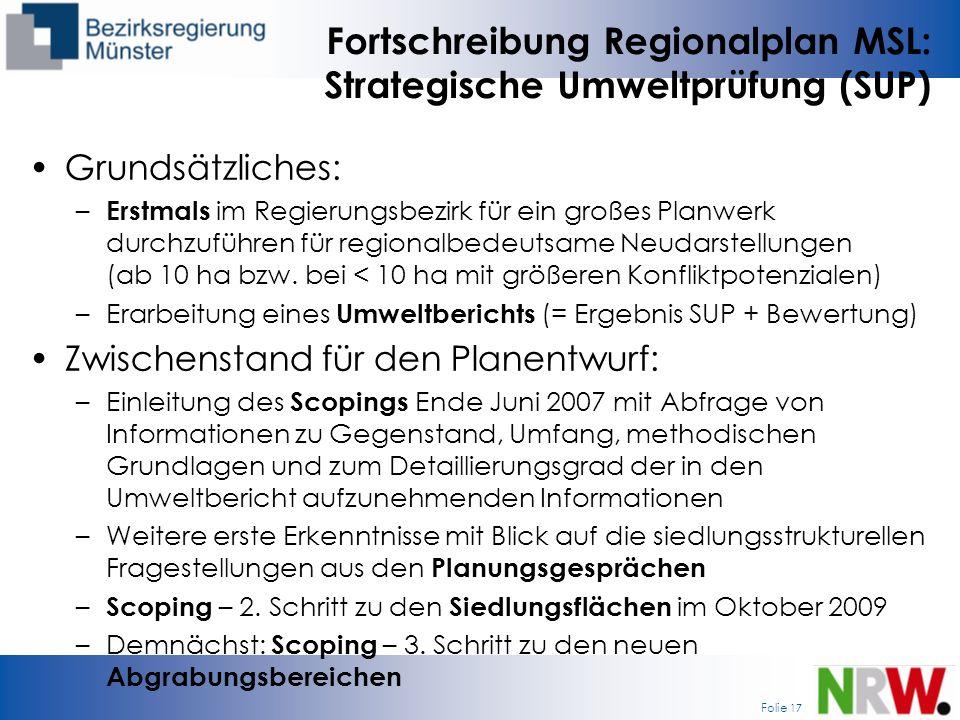 Fortschreibung Regionalplan MSL: Strategische Umweltprüfung (SUP)