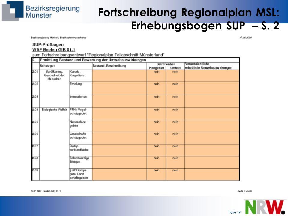 Fortschreibung Regionalplan MSL: Erhebungsbogen SUP – S. 2
