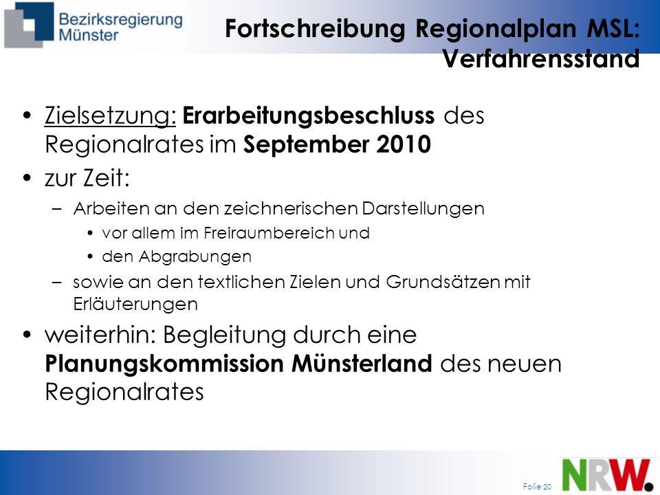 Fortschreibung Regionalplan MSL: Verfahrensstand