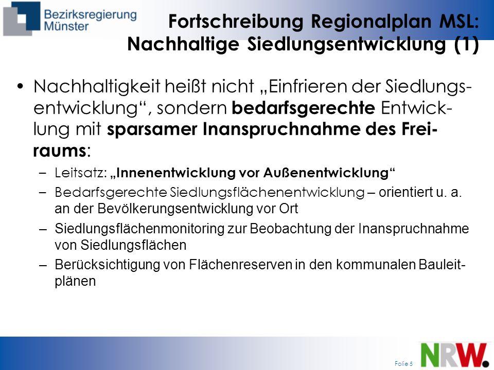Fortschreibung Regionalplan MSL: Nachhaltige Siedlungsentwicklung (1)