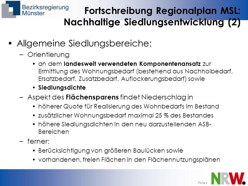 Fortschreibung Regionalplan MSL: Nachhaltige Siedlungsentwicklung (2)
