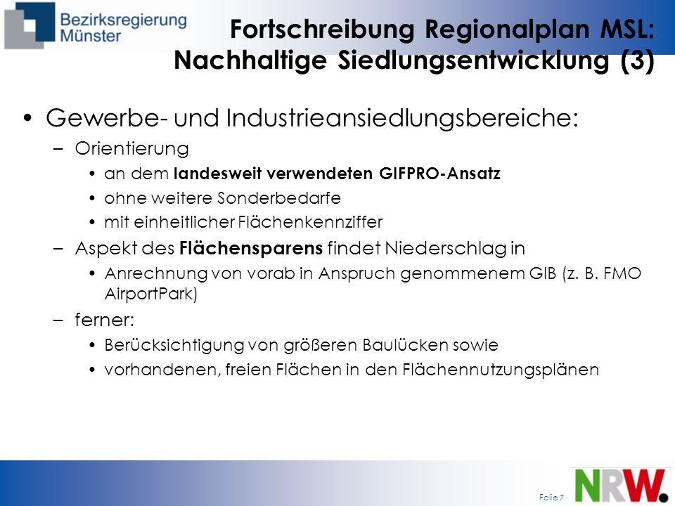 Fortschreibung Regionalplan MSL: Nachhaltige Siedlungsentwicklung (3)