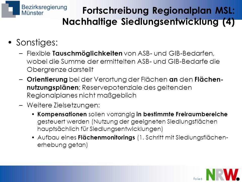 Fortschreibung Regionalplan MSL: Nachhaltige Siedlungsentwicklung (4)