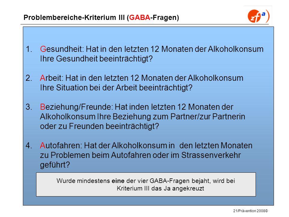 Problembereiche-Kriterium III (GABA-Fragen)