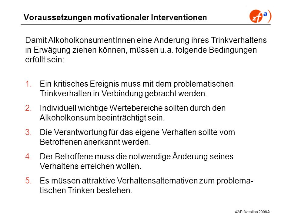 Voraussetzungen motivationaler Interventionen