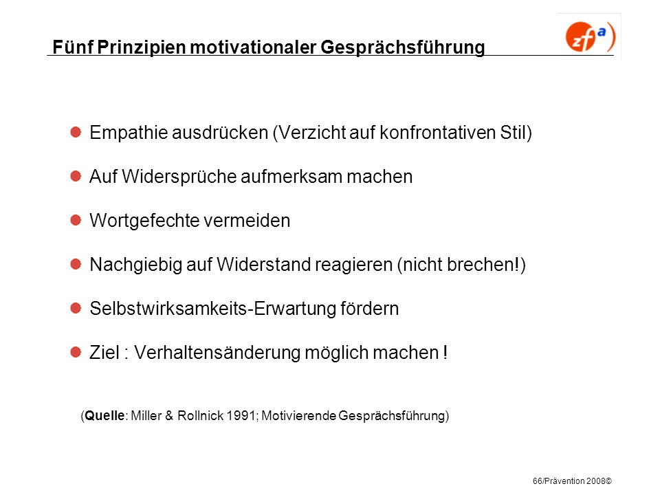 Fünf Prinzipien motivationaler Gesprächsführung