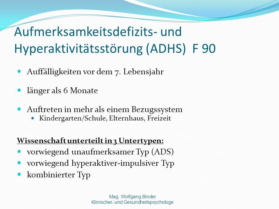Aufmerksamkeitsdefizits- und Hyperaktivitätsstörung (ADHS) F 90