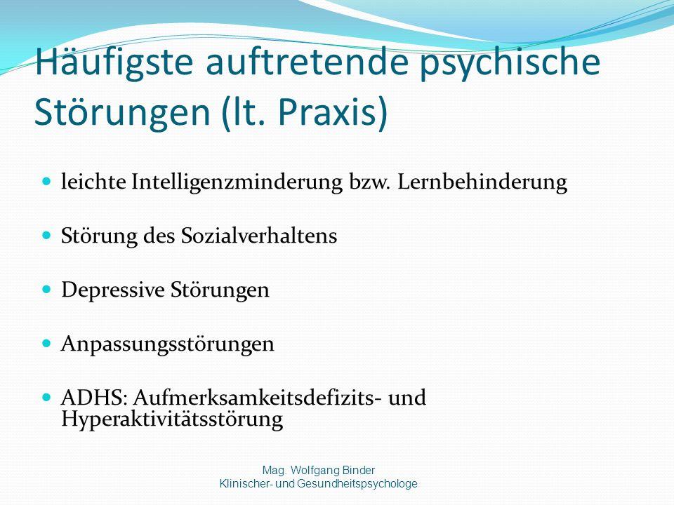 Häufigste auftretende psychische Störungen (lt. Praxis)