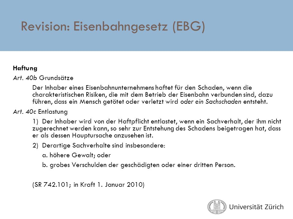 Revision: Eisenbahngesetz (EBG)
