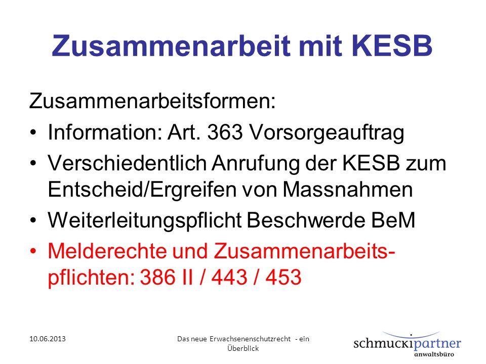 Zusammenarbeit mit KESB