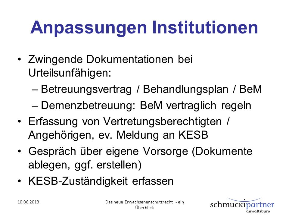 Anpassungen Institutionen