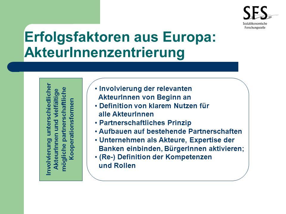 Erfolgsfaktoren aus Europa: AkteurInnenzentrierung