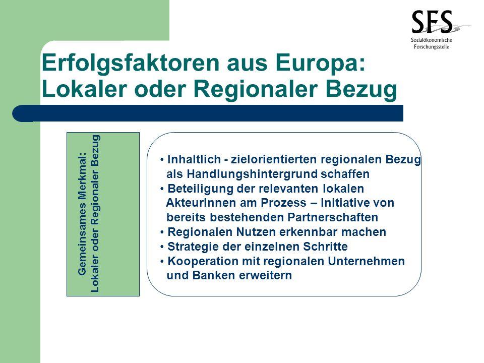 Erfolgsfaktoren aus Europa: Lokaler oder Regionaler Bezug