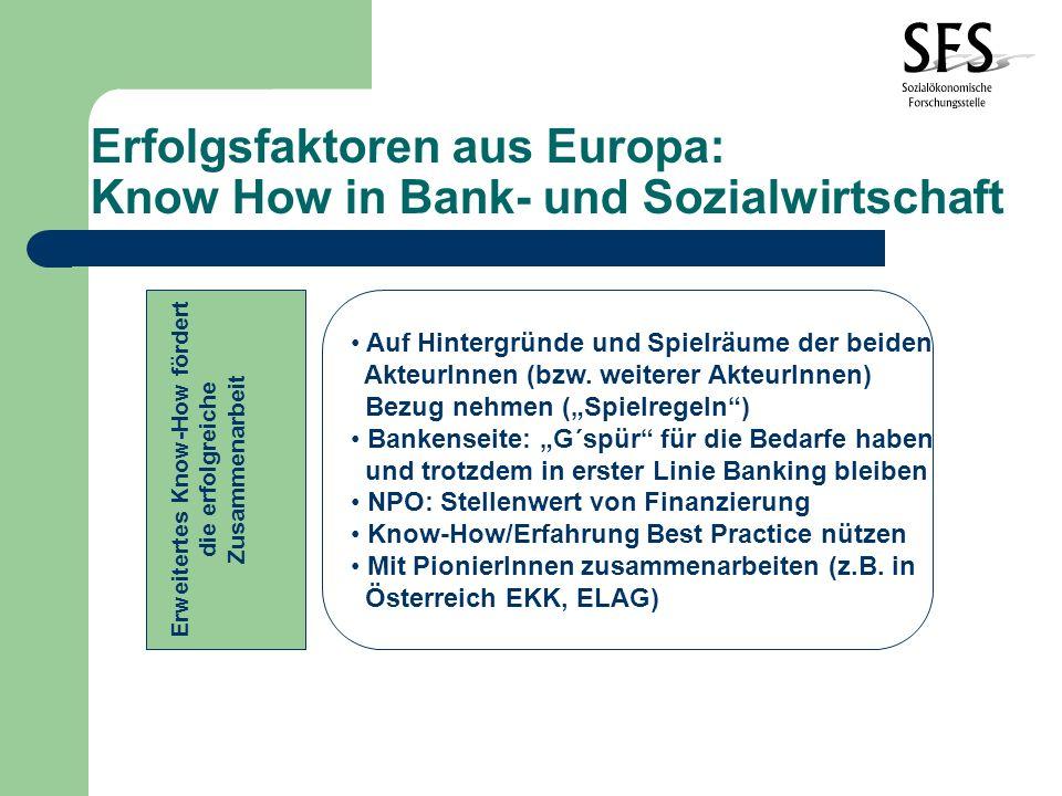 Erfolgsfaktoren aus Europa: Know How in Bank- und Sozialwirtschaft