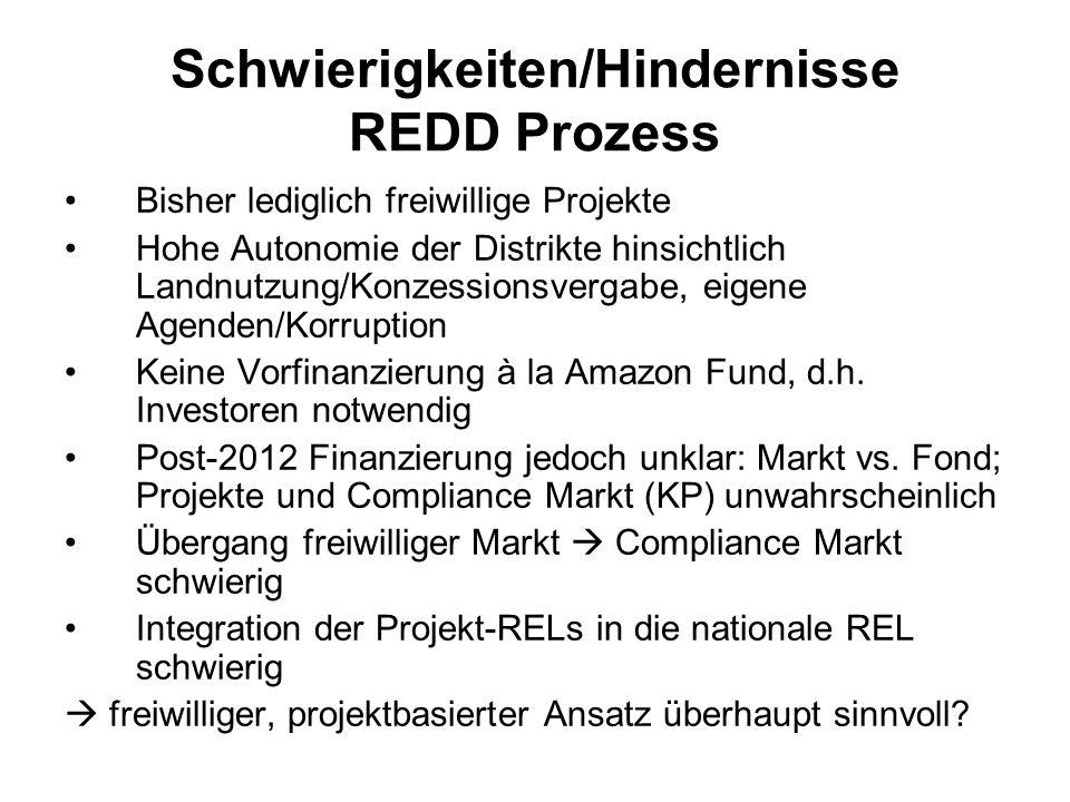 Schwierigkeiten/Hindernisse REDD Prozess