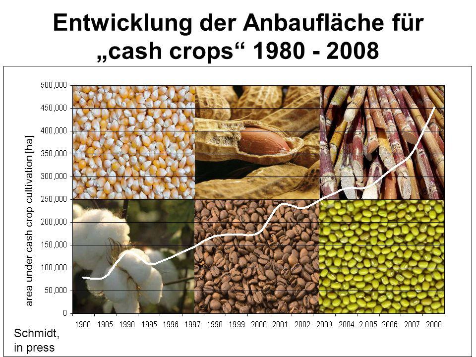 """Entwicklung der Anbaufläche für """"cash crops 1980 - 2008"""