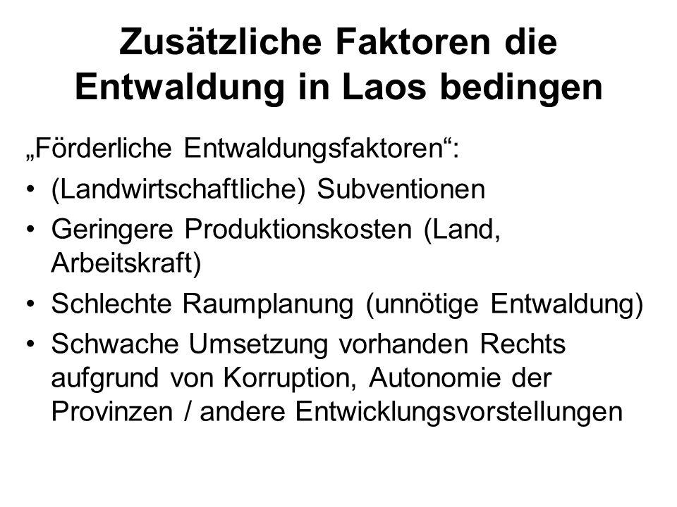 Zusätzliche Faktoren die Entwaldung in Laos bedingen