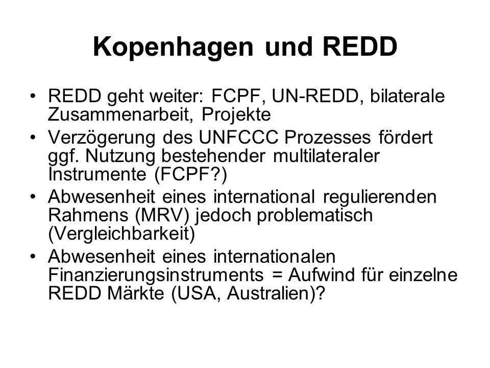 Kopenhagen und REDD REDD geht weiter: FCPF, UN-REDD, bilaterale Zusammenarbeit, Projekte.