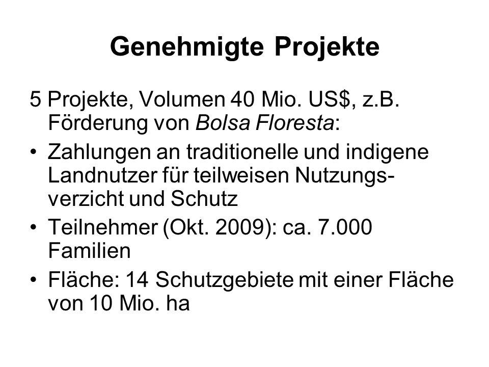 Genehmigte Projekte 5 Projekte, Volumen 40 Mio. US$, z.B. Förderung von Bolsa Floresta: