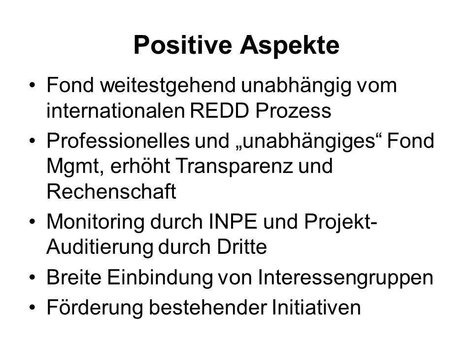 Positive AspekteFond weitestgehend unabhängig vom internationalen REDD Prozess.