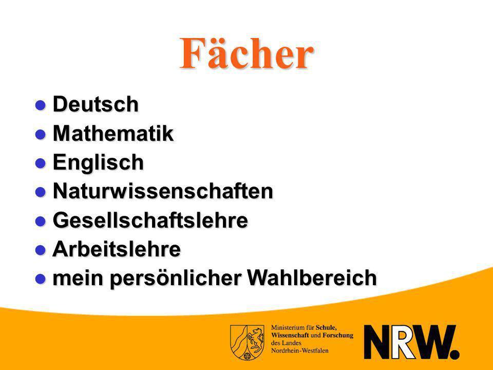 Fächer Deutsch Mathematik Englisch Naturwissenschaften