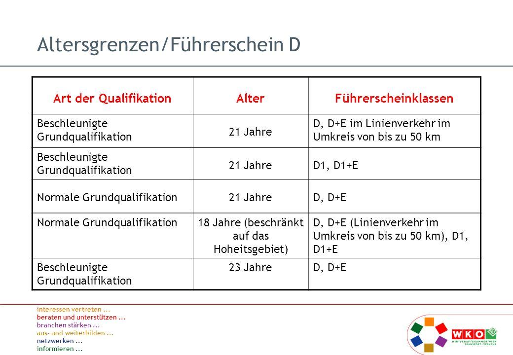Altersgrenzen/Führerschein D