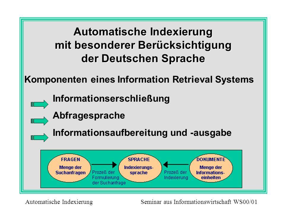 Automatische Indexierung mit besonderer Berücksichtigung der Deutschen Sprache
