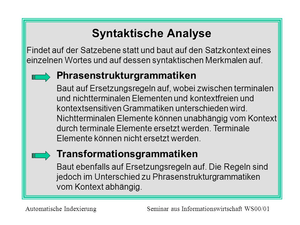 Syntaktische Analyse Phrasenstrukturgrammatiken