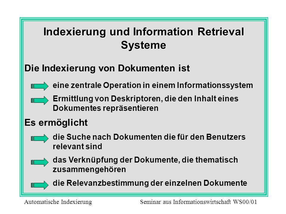 Indexierung und Information Retrieval Systeme