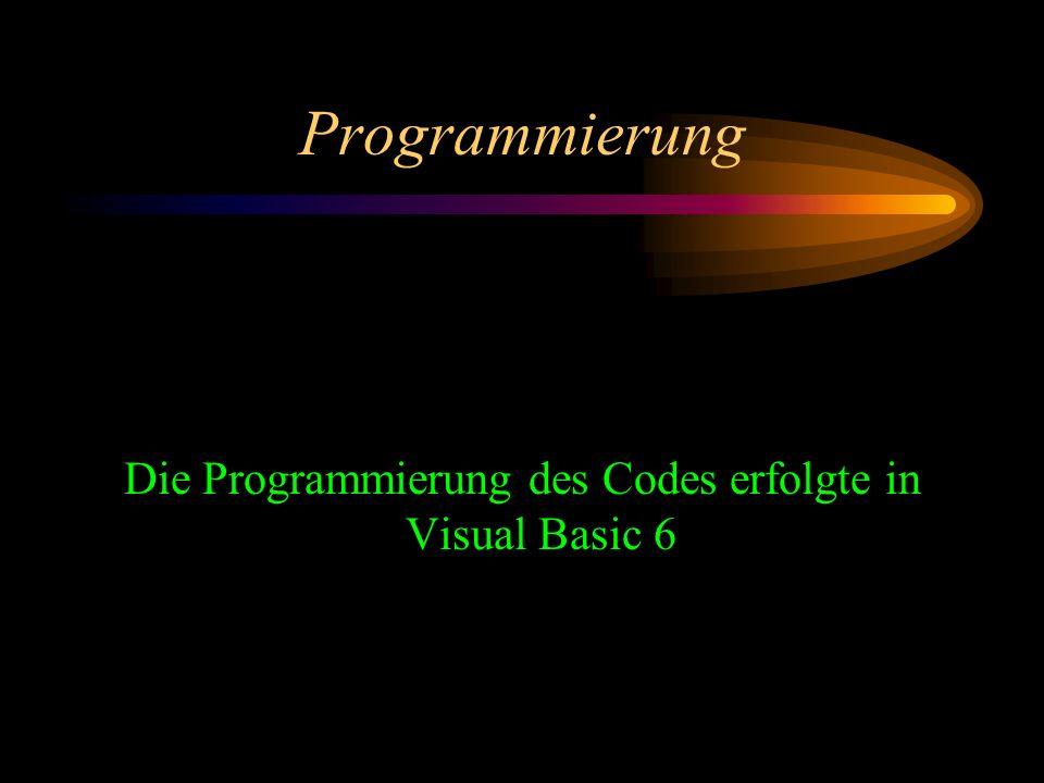 Die Programmierung des Codes erfolgte in Visual Basic 6