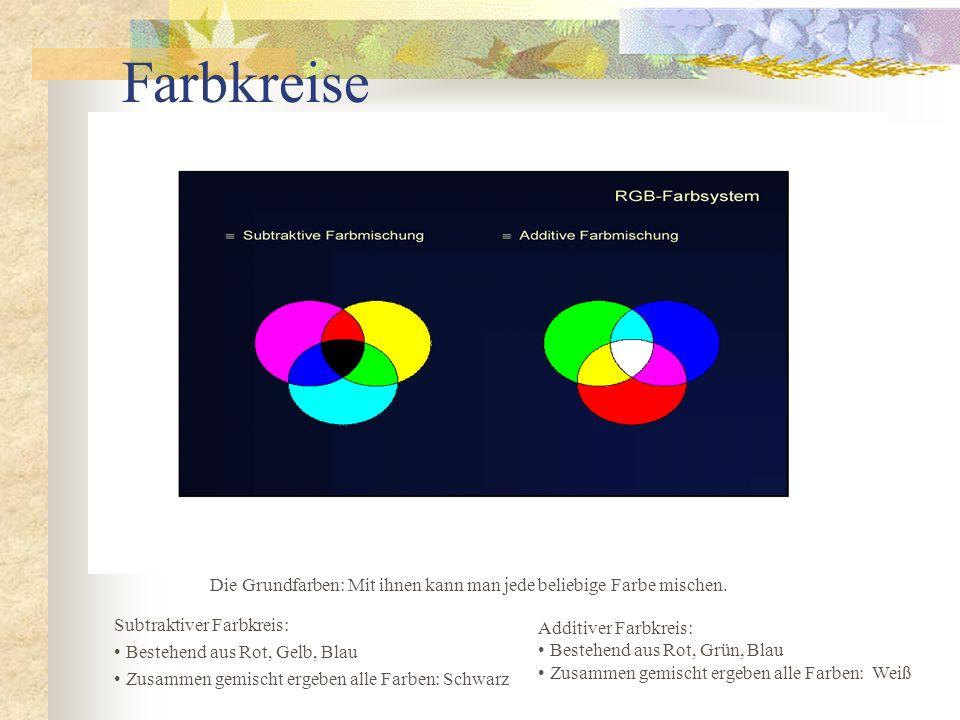 Farbkreise Die Grundfarben: Mit ihnen kann man jede beliebige Farbe mischen. Subtraktiver Farbkreis: