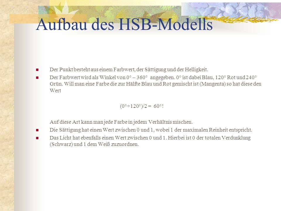 Aufbau des HSB-Modells