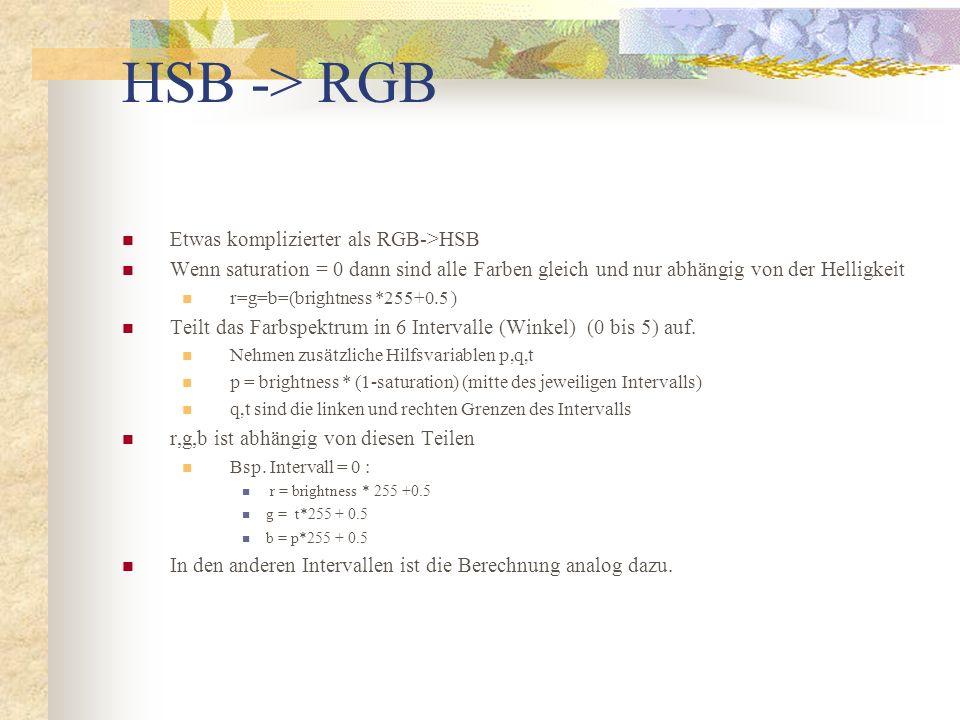 HSB -> RGB Etwas komplizierter als RGB->HSB