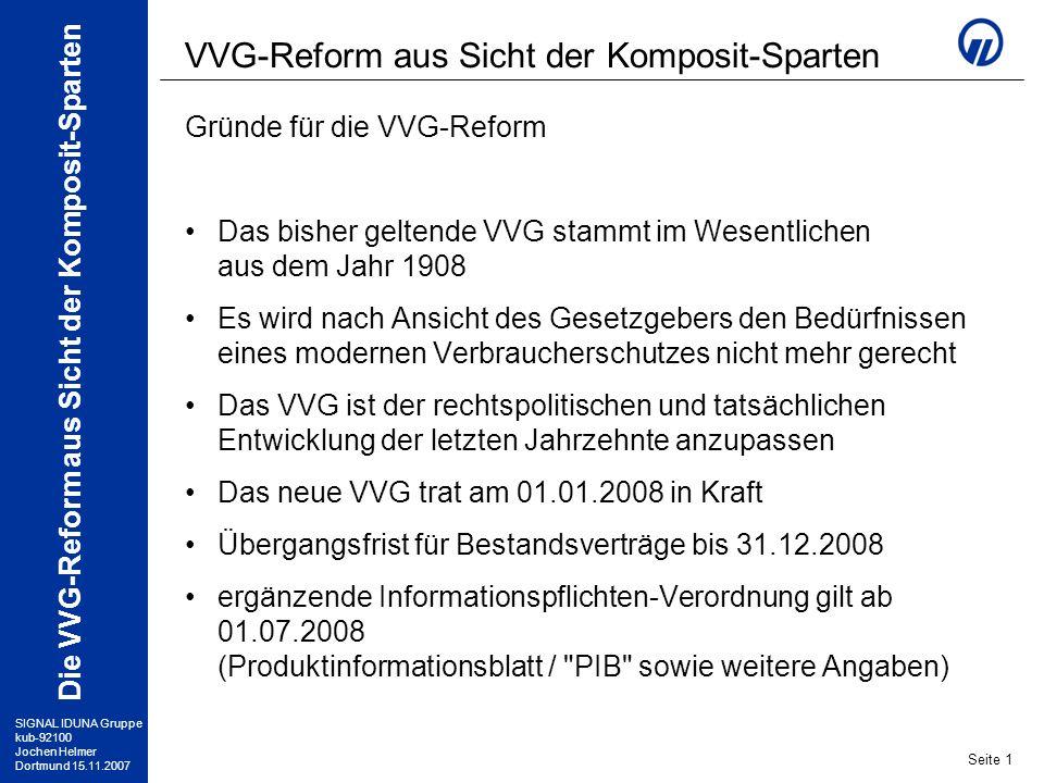 VVG-Reform aus Sicht der Komposit-Sparten
