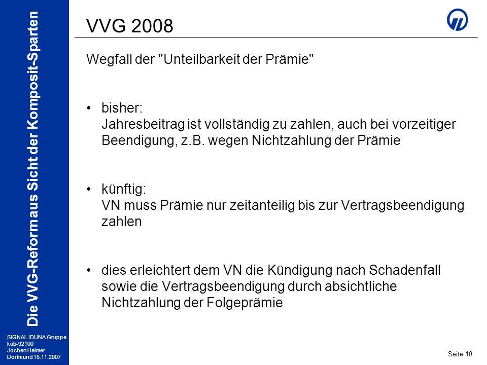 VVG 2008 Wegfall der Unteilbarkeit der Prämie