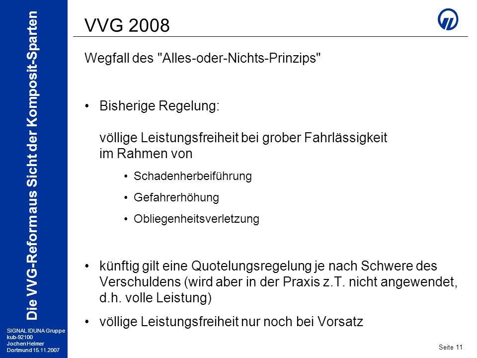 VVG 2008 Wegfall des Alles-oder-Nichts-Prinzips