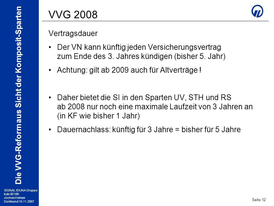 VVG 2008 Vertragsdauer. Der VN kann künftig jeden Versicherungsvertrag zum Ende des 3. Jahres kündigen (bisher 5. Jahr)